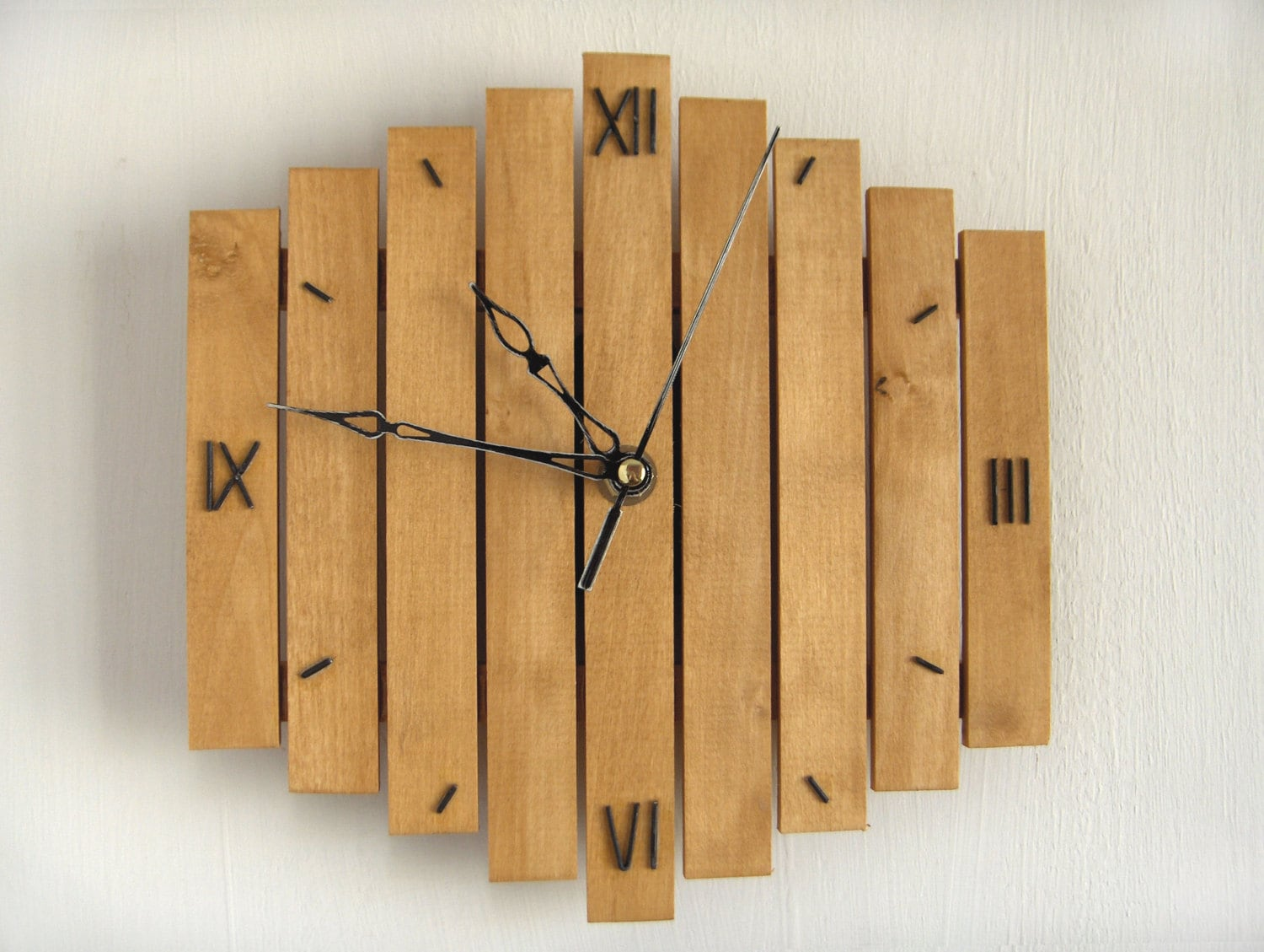 Wall Clock Wooden Wall Clock Roman Decor Mid Century Clock