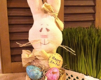 Primitive Country Easter Bunny with Basket filled with Eggs