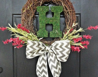 Bright Red Wildflowers with Chevron Burlap Bow and Moss covered Monogram Wreath