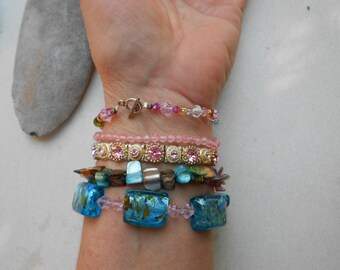 Vintage bracelets LOT  in mixed media of fused glass, shell, rhinestones, metals, five bracelets 1980s