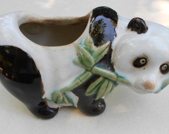 Vintage planter Panda Bear eating bamboo Planter 1950s mid century plant holder