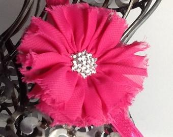 Hot pink headband: Hot pink shabby chic flower on a hot pink soft headband. Baby headband, girls headband, adult headband.