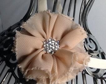Khaki headband: tan shabby chic flower with bling on a cream headband. Baby headband, girls headband, adult headband khaki hair accessory