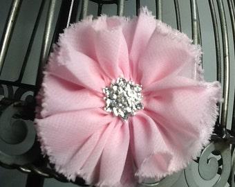 Shabby chic light pink hair clip, light pink flower hair clip hair accessory