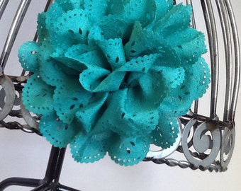 Jade hair clip: dark aqua eyelet lace flower hair clip, aqua green hair accessory, girls hair clip, hair flower, hair accessories
