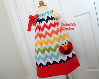 Elmo Rainbow Chevron Pillowcase Dress