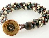 Organic Bracelet, Cobblestone Braided Bracelet, Kumihimo Bracelet with Magatama beads and button closure by CAAZandeffect