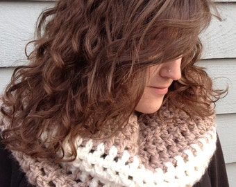 Scarf, Cowl, Neckwarmer, Infinity Scarf (Scarf/Cowl inTaupe and Cream)