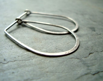 Sterling Silver Long Hoops Metalwork Modern Minimalist Simplistic Artisan Jewelry Simple Arty Gifts Under 40