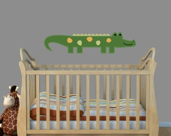 Repositional Alligator Wall Decal, Nursery Room Decal, Boys Room Decor, Childrens Room Sticker