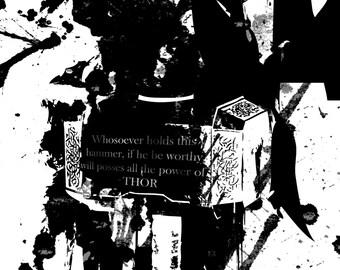 Thor God of Thunder Grunge Ink Print