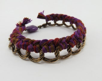 Wrapped Friendship Bracelet and Chain - Red, Purple, and Brown Braided Bracelet - READY TO SHIP - Handmade Bracelet