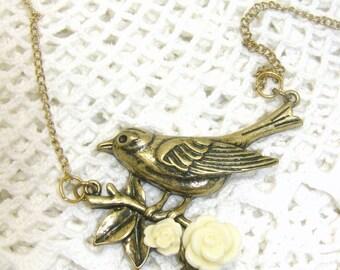 Bronze Bird On A Twig Necklace, Bird Necklace, Bird Jewelry, Twig Necklace, Twig Jewelry, Flower Necklace, Flower Jewelry, Crystal Bead