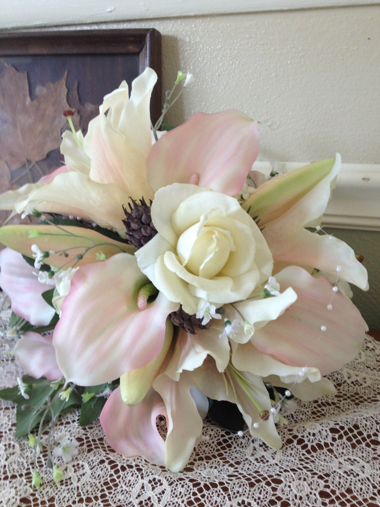Real Touch Flower Blush Pink And White Silk Bridal Bouquet