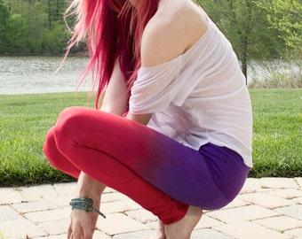 THE BEST Yoga Pants! Red and purple hand dyed leggings by OmBeautiful, Perfect gift for the yoga girl in your life!
