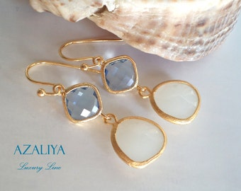 Beautiful Ballerina Chandeliers with Aquamarine & White Jade Crystals. Azaliya Luxury Line. Bridal, Bridesmaids Earrings. Gifts.