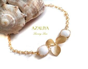 Bridal Bracelet White Stone & Orchid in Gold. White Jade Bracelet. Azaliya Luxury Line. Bridal Jewelry, Bridesmaid Bracelet. Gifts.