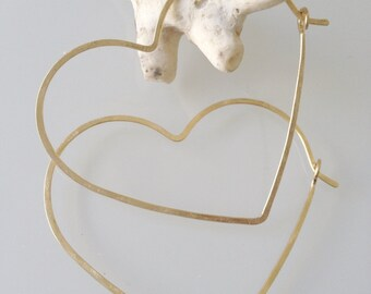 LARGE HEART HOOPS - Big Heart Hoop Earrings - Gold Heart Hoops - Bronze Heart Hoops