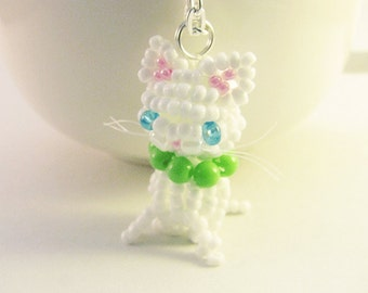 White Cat Pendant, Beaded Cat Necklace, Seed Bead Cat Pendant