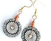 RESERVED FOR Chantal H. Button Burst: Earrings Big Button Earrings Black And White Copper Wire Dangle Handmade