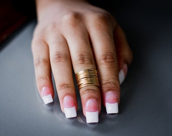10 Plain Midi Rings / Stackable - Stacking / Knuckle Ring Set - Handmade. Tarnish Resistant. Hypoallergenic. Adjustable. In Gold or Silver.
