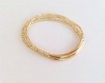 Gold bracelet, seed bead bracelet, sparkly bracelet, stretchy bracelet, golden bracelet, seed bead bracelet, minimalist,beaded bracelet,gift