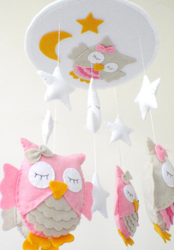 Owl baby crib mobile owl nursery mobile baby crib mobile for Unusual baby mobiles