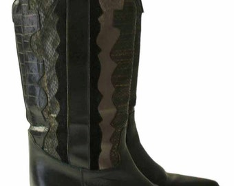 Black Cowboy Boots / 70s Snakeskin Cowboy Boots