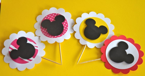 Mickey Mouse or Minnie Mouse Cupcake Toppers - 24 pieces