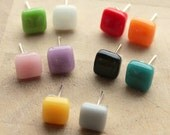 GLASS STUD EARRINGS Colourful Geometric Square Studs Mix and Match Tiny Cute Jewellery Colours Surgical Steel Stocking Filler Gift for Her