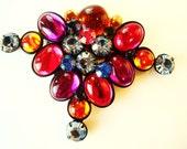 Vintage Rainbow Jewel Tone Unique Geometric Large Bright Vibrant Colorful Stone Brooch Pin Handmade ROYGBIV Retro Statement Fashion 80s 90s
