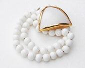 Vintage Geometric Gold Metallic White Glass Beaded Necklace Pendant Art Deco Retro Fashion Jewelry Spring For Her Wedding Summer Bead Bridal