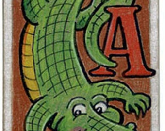 """One of a  kind """"A"""" is for Alligator original ACEO art trading card"""