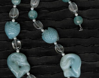 Jumping Dolphins - Amazonite Gemstone Dolphins, Rock Quartz, FW Pearls, SS Necklace Sea Ocean Beach Jewelry