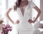 Fitted style short wedding dress M11, Romantic wedding gown, Classic bridal dress, Custom dress, Simple Wedding Dress, Winter Wedding