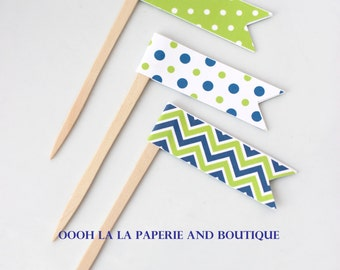 MADE TO ORDER Navy Blue and Lime Green Cupcake Flag Picks- Set of 12