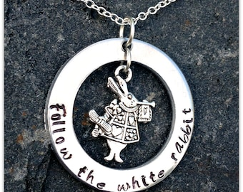 Follow the White Rabbit Alice in Wonderland Necklace