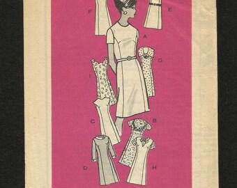 Vintage 1967 Mail Order Printed Pattern 4866 Princess Seam Dress with Such Versatility Neckline & Sleeve Variations Size 10 UNCUT