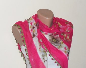 pink scarf pink cotton scarf multicolor yemeni scarf oya scarf woman accessories fashion shawls gift for her