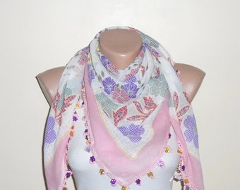 light pink scarf purple pink flower gree white cotton scarf yemeni oya handmade scarf gift wrap shawls