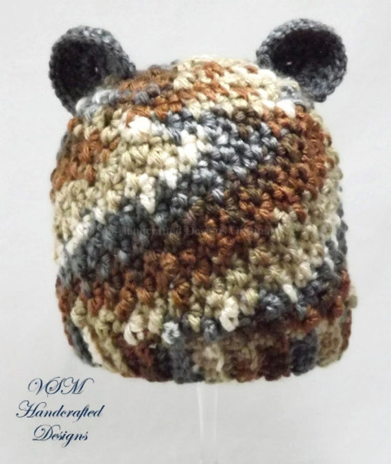items similar to camo baby hat with teddy bear ears hand