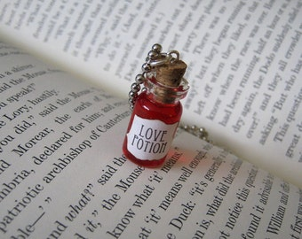 Love Potion 1ml Glass Bottle Necklace Charm -  Cork Vial Pendant - Potion of Love Valentine's Day Love