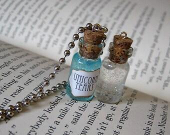 Unicorn Tears 1ml Glass Bottle Necklace Charm - Cork Vial Pendant - Cute Unicorns Magic