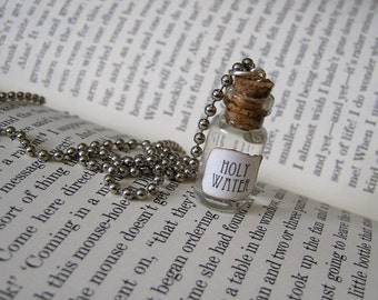 Holy Water 1ml Glass Bottle Necklace Charm - Cork Vial Pendant - Cute