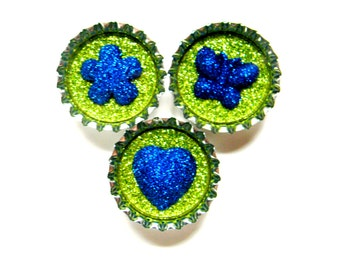 Bottle Cap Magnets - Green Blue Mix - Set of 3