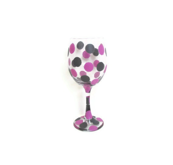 Items similar to Hand painted wine glasses, Confetti Polka ...