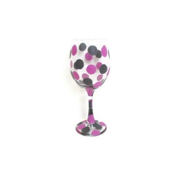 Zenni Optical Polka Dot Glasses : Items similar to Hand painted wine glasses, Confetti Polka ...