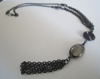 Pyrite stone necklace with wire spirals