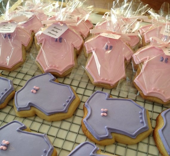 1 Doz Butterfly Themed Onesie Baby Shower Cookies Favors