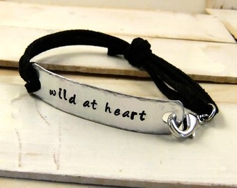 Wild At Heart, Stamped Leather Bracelet, Custom Quote